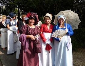 Joana Starnes, Rachel Knowles and Sophie Andrews at Jane Austen Promenade Bath 2014