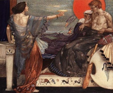 Medea, Theseus and Aegeus,  William Russell Flint (1910)