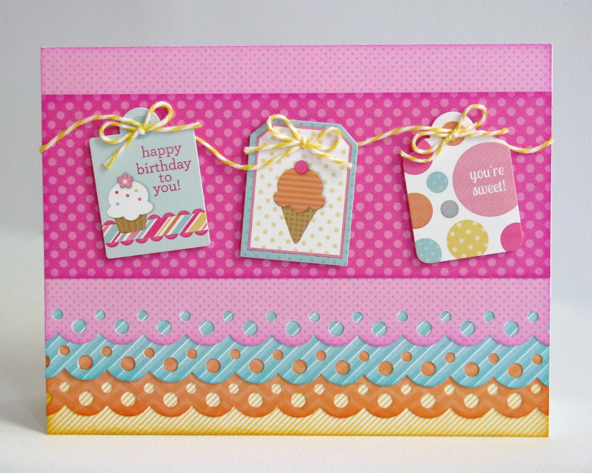 Doodlebug Design Inc. Sugar Shoppe Ice Cream & Cupcake Birthday Card for Kids & Teen Girls by Mendi Yoshikawa
