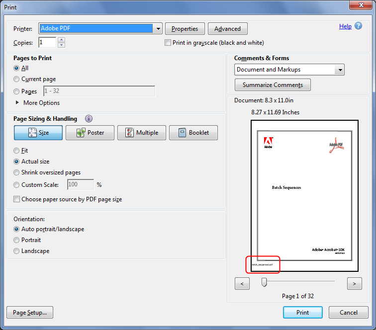 Custom-made Adobe Scripts: Acrobat/Reader -- Print PDF With File Name