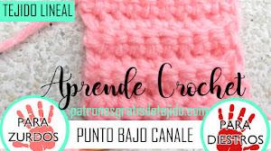 Clase de Crochet Inicial # 7 / Cómo tejer punto bajo canalé para diestros y zurdos