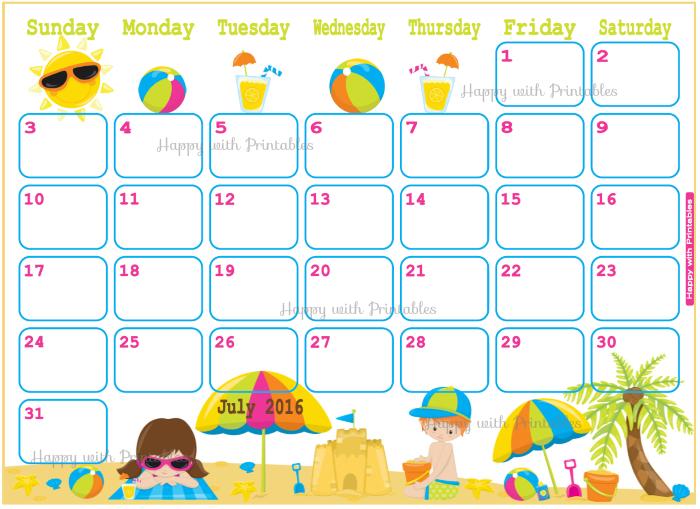 July Calendar Artwork : Happywithprintables july planner vacation