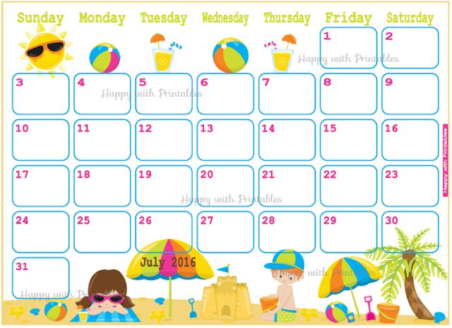 July 2016 planner, vacation planner, summer planner, beach, summer, planner for kids