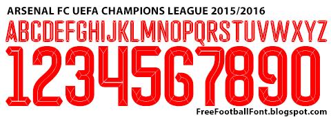 Free Football Fonts: Arsenal FC 2015/2016 UEFA Champions League Font