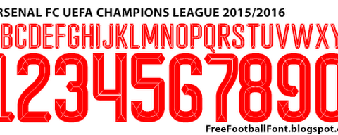 Arsenal FC 2015-2016 UEFA Champions League Font