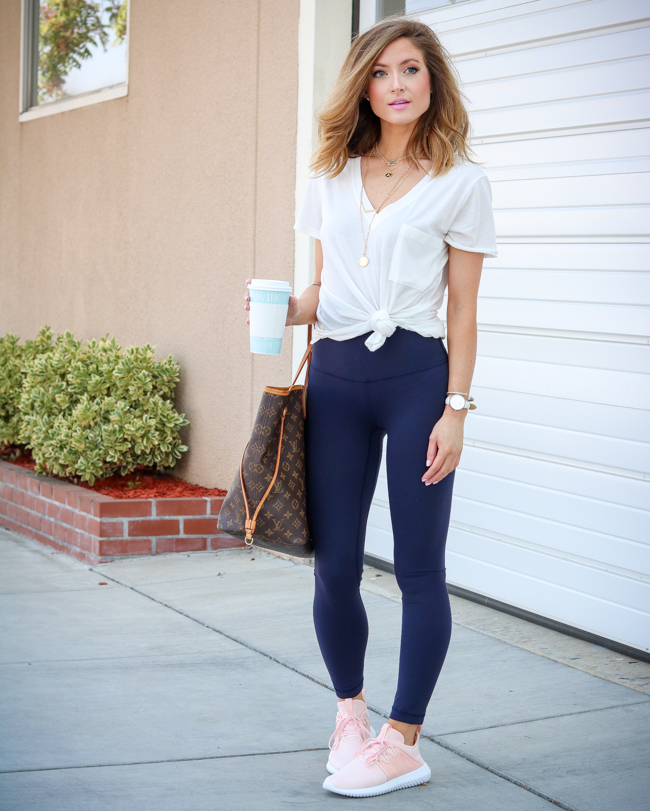 lululemon align pant II with lush clothing white tee and blush adidas