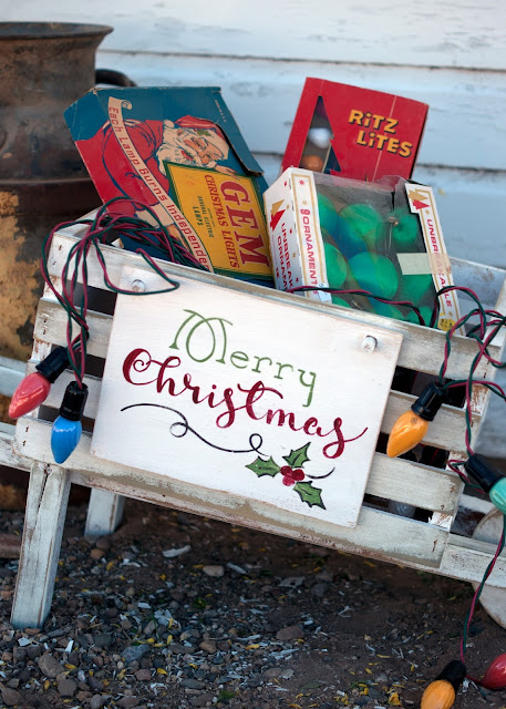 Rustic Wheelbarrow with interchangeable signs #DIHworkshop Virtual Party - Merry Christmas