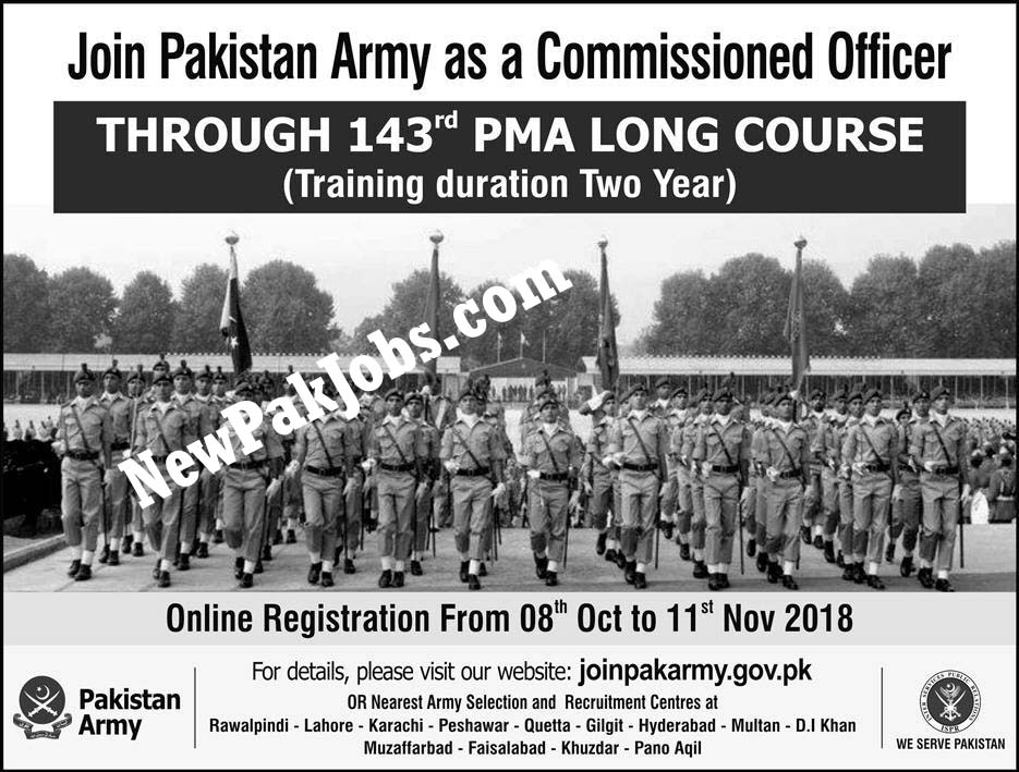 Join Pakistan Army as Commissioned Officer Through 143 PMA Long Course, Oct 2018