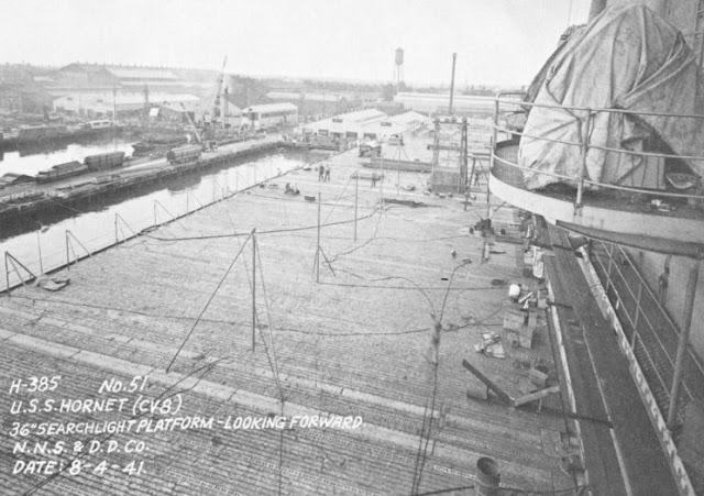 Hornet CV-8 under construction at Newport News Shipbuilding, 4 August 1941 worldwartwo.filminspector.com