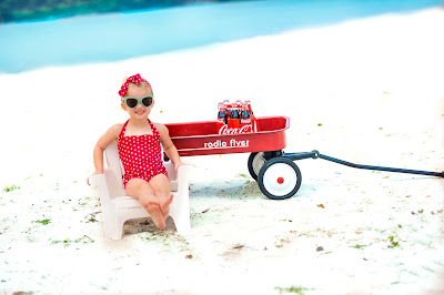 Kids 50's style, retro coca-cola photo shoot. Retro swimsuit and headband. Beach picture ideas