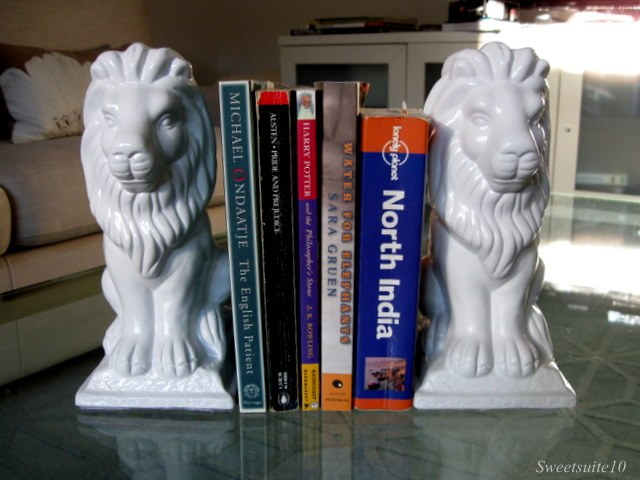 White Lion bookends
