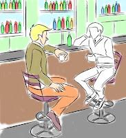 Dos sujetos bebiendo en un bar