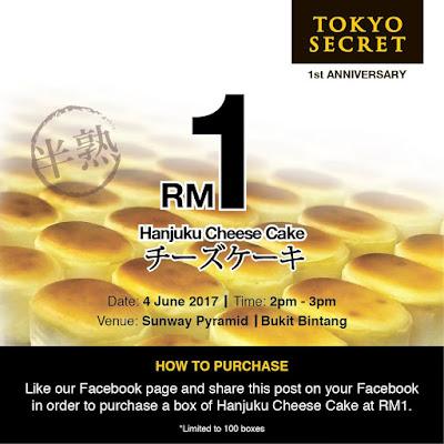 Tokyo Secret Hanjuku Cheese Cake RM1 FB Promo