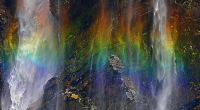 Waterfalls rainbow in India