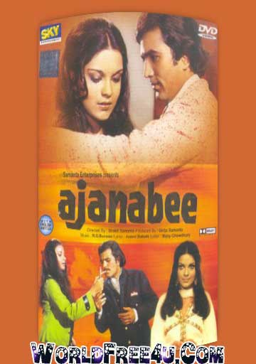 Poster Of Bollywood Movie Ajanabee (1974) 300MB Compressed Small Size Pc Movie Free Download worldfree4u.com