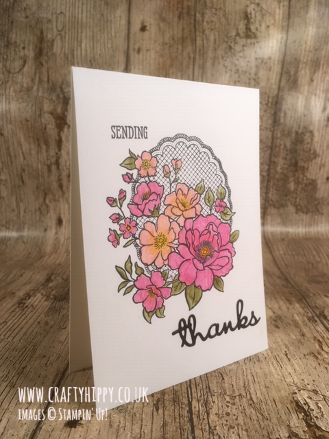 Hand-stamped floral greetings card made with the Lovely Lattice stamp set by Stampin' Up!