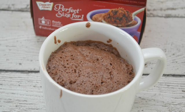 warm treat, warm delicious treat just for you, ready in about a minute, a mug some water and about a minute, how perfect is that?, Mug cake, cake in a mug, cake, easy cake mix, Duncan Hines perfect size for 1 cake mix