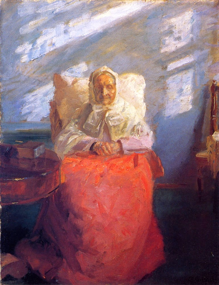 Ane Hedvig Brondum in a Blue Room, Anna Ancher