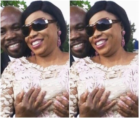 Pastor Olubori shares photo of her husband grabbing her boobs