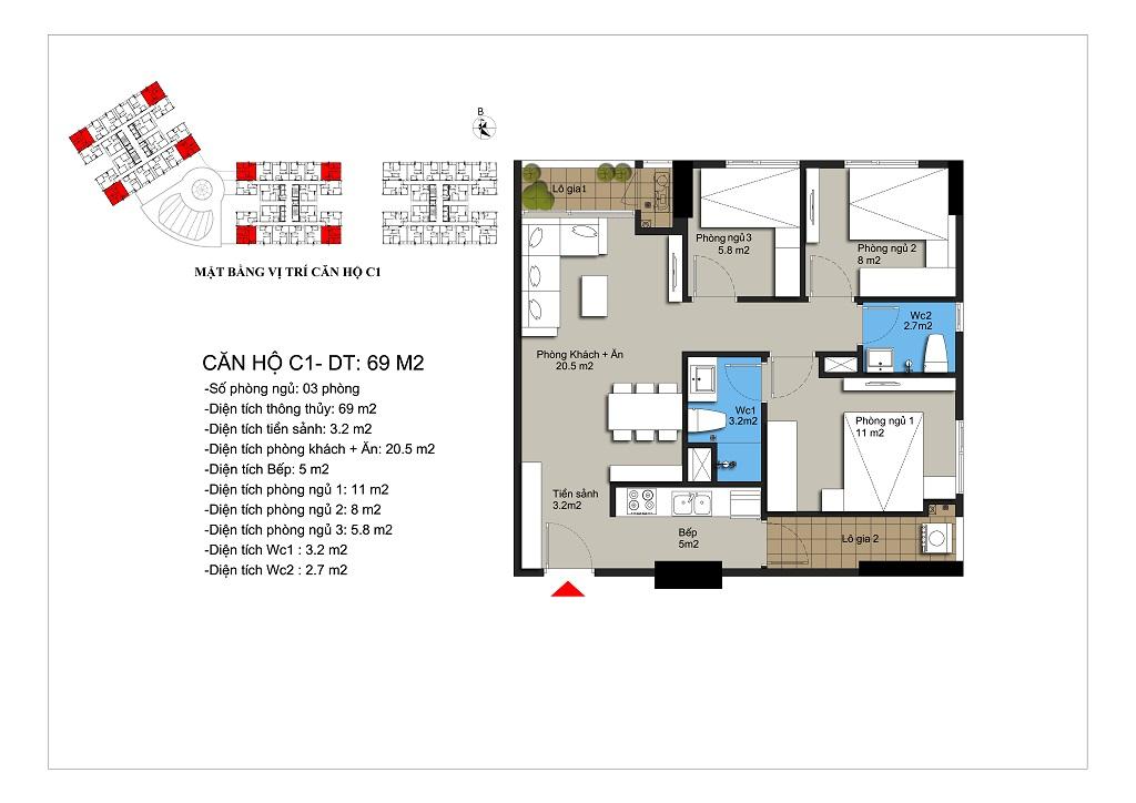 Căn hộ số 03,08,14,19 rộng 69,8m2 tòa CT1A, CT1B