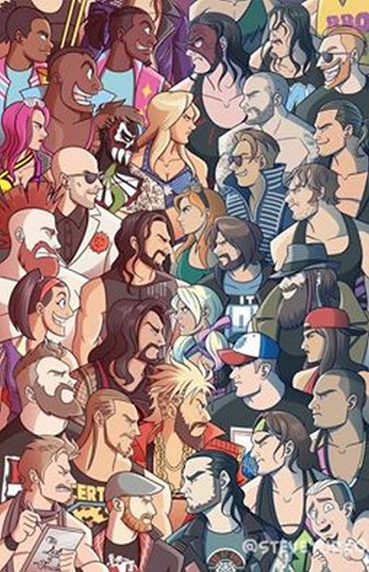 A drawing of WWE Raw versus Smackdown rosters