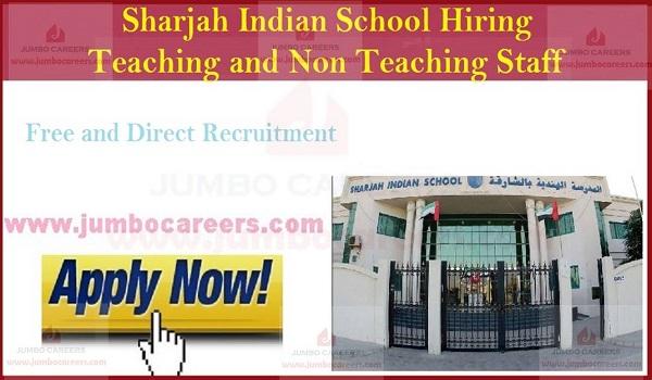 Available school jobs in Sharjah,Indian school jobs ion Sharjah with salary,