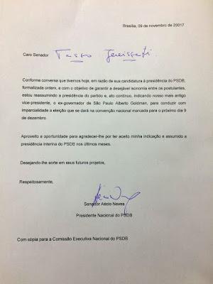 Aécio tira Tasso do comando do PSDB e indica Goldman