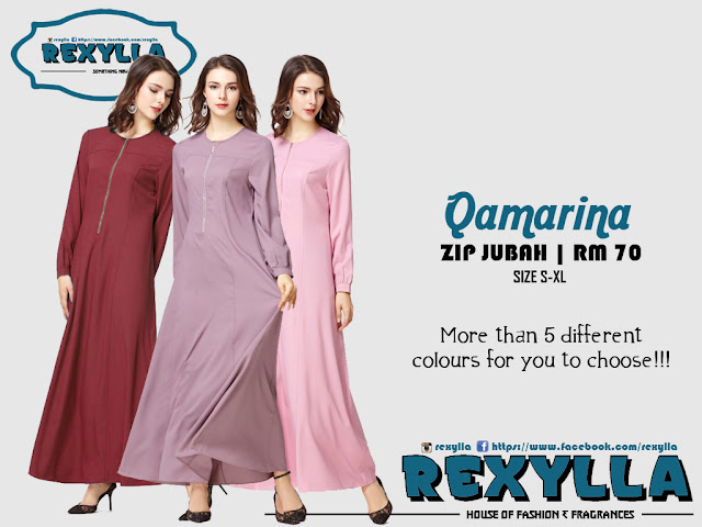 rexylla, zip jubah, qamarina collection
