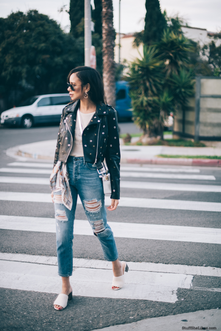 Zara, dl1961, ripped jeans, hoop earrings, wildfox teeshirt, MCM Bag, rayban sunglasses, Fashion blogger, blogger, taye hansberry, venice beach, who what wear shoes, black blogger, bloggers of color