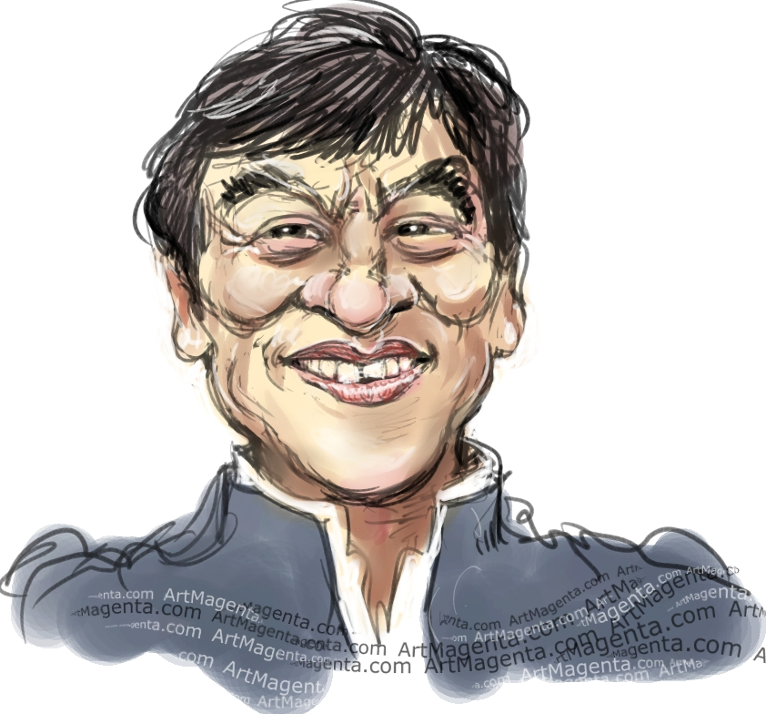 Jackie Chan caricature cartoon. Portrait drawing by caricaturist Artmagenta