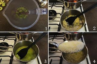 foto preparazione Ricetta risotto con fave fresche e pecorino per bambini