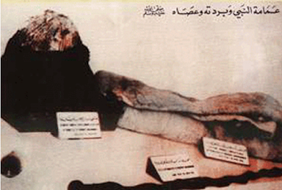 Surban, selimut dan tongkat Nabi Muhammad di Museum Turki