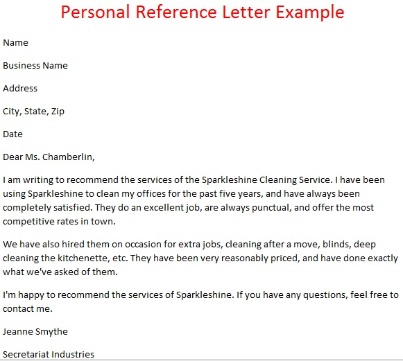 example of a personal reference letter