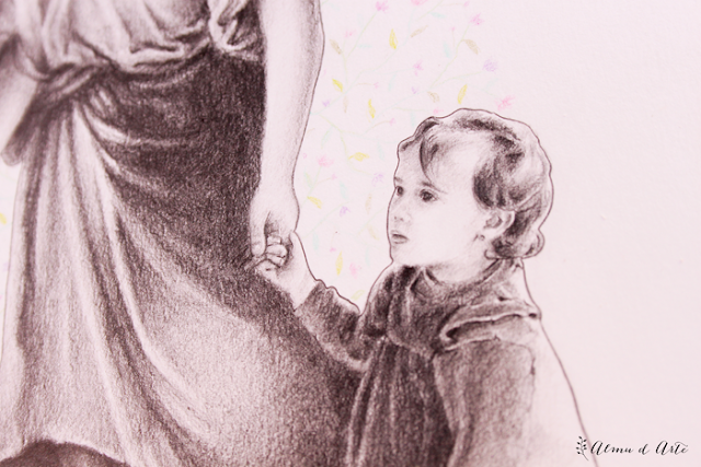 Retrato artístico dibujado a lápiz de grafito
