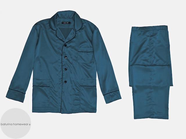 Eleganter Schlafanzug Herren Seide Lang Luxus Pyjama geknöpft Edel Klassisch Stilvoll
