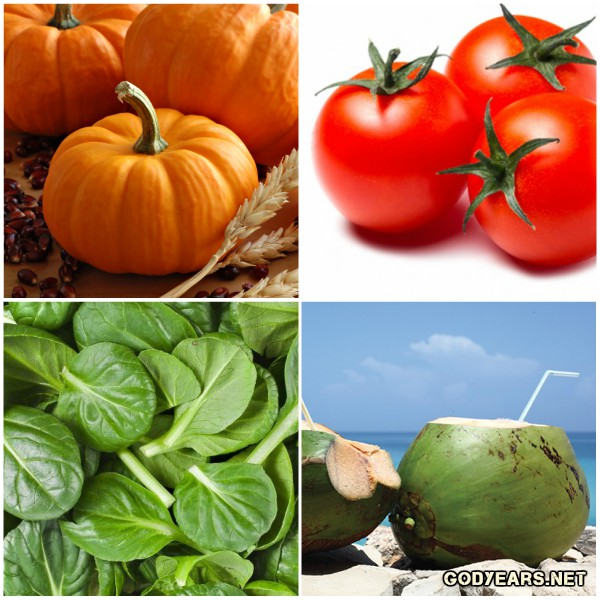 Pumpkins, spinach, tomatoes and coconut waters are excellent food choices for summer and aid in weight loss, hydration and strengthening skin against harmful UV rays