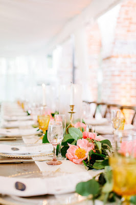 pink and yellow table florals
