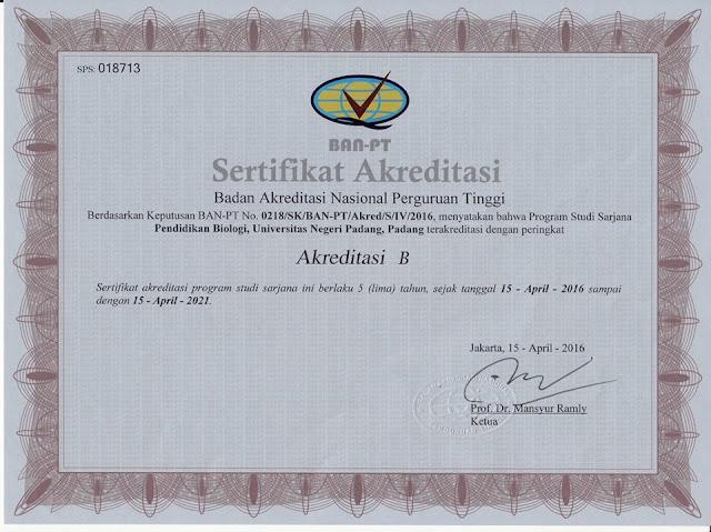 Sertifikat Akreditasi Program Studi Pendidikan Biologi Universitas Negeri Padang Tahun Ajaran 2016 2021