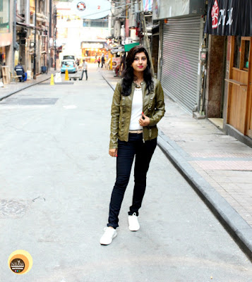 Wearing-Veromoda-Olive-Jacket-Blackpant- Anamika Chattopadhyaya-NBAM