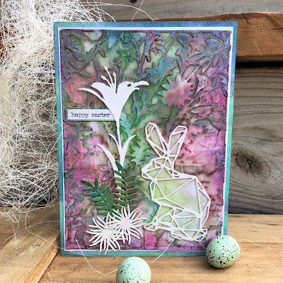 Sara Emily Barker https://sarascloset1.blogspot.com/2019/04/easter-card-with-tim-holtz-oxide-sprays.html Mixed Media Easter Card #oxidesprays #organic #geospringtime #wildflowerstems (1)