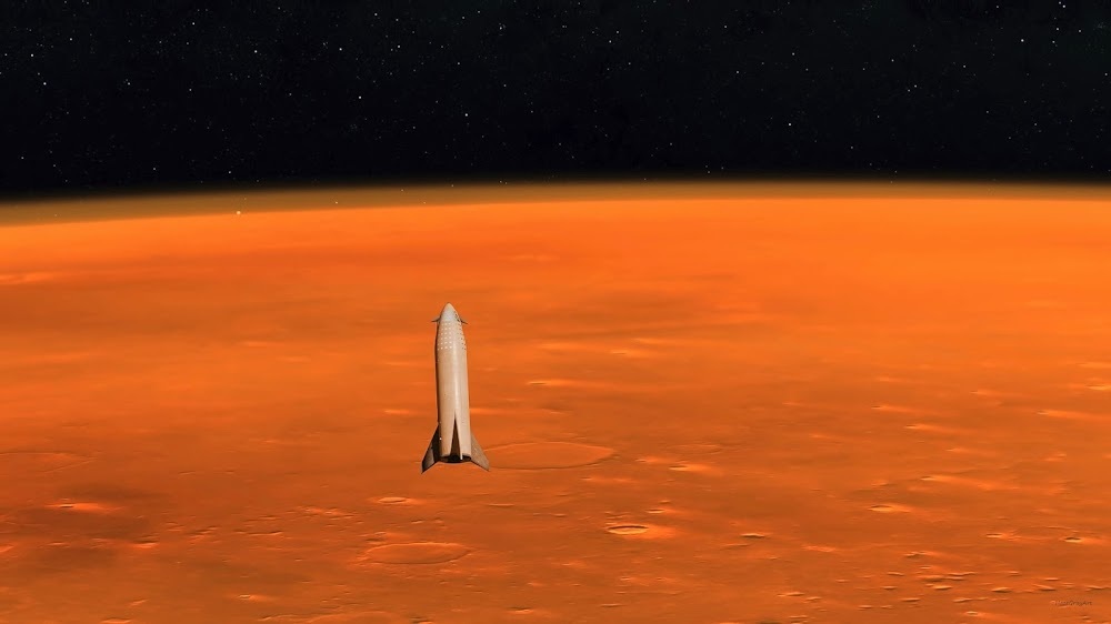 SpaceX Big Falcon Ship approaching Mars by HazeGrayArt
