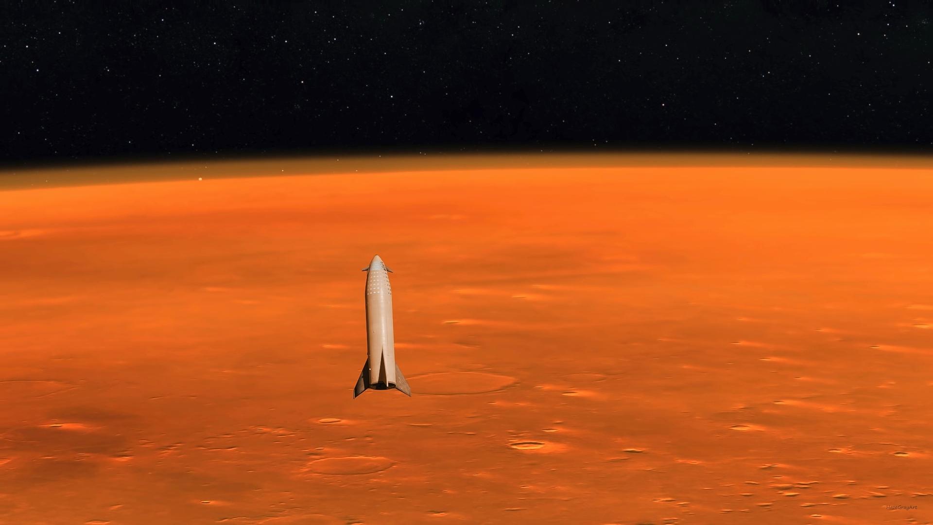 Spacex Big Falcon Ship Approaching Mars By Hazegrayart
