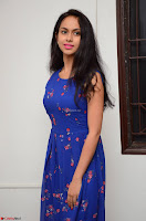Pallavi Dora Actress in Sleeveless Blue Short dress at Prema Entha Madhuram Priyuraalu Antha Katinam teaser launch 058.jpg
