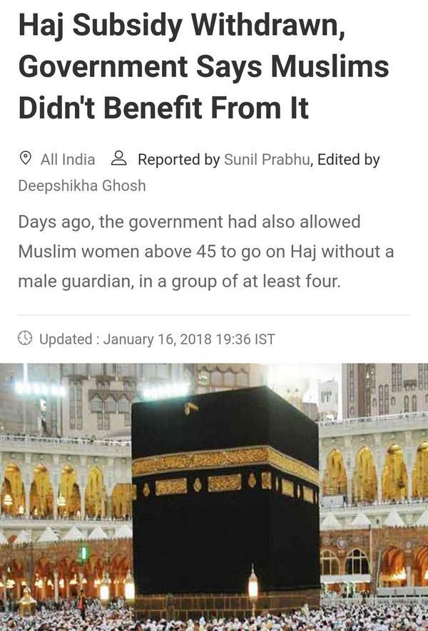 India tamatkan pemberian subsidi haji kepada rakyat beragama Islam