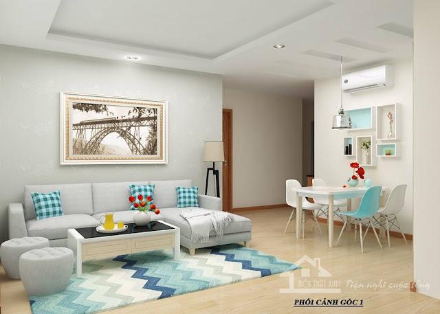 Phòng khách với tông màu trắng chủ đạo