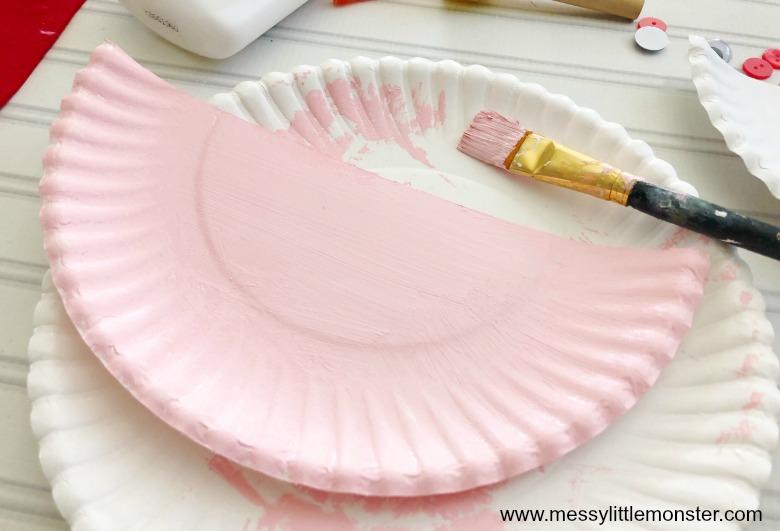 Love birds paper plate Valentine's Day craft