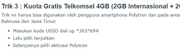 Kuota Telkomsel 4GB (2GB Nasional dan 2GB Lokal)