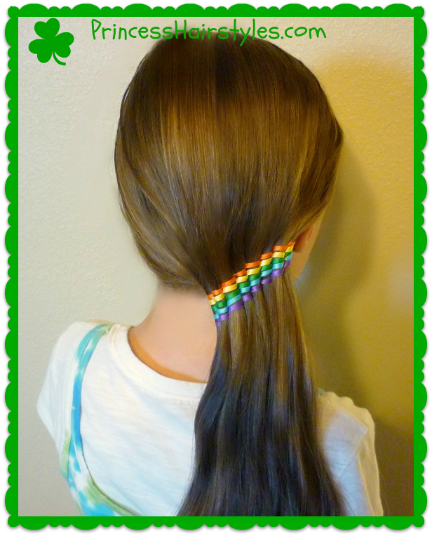 Rainbow Waterfall Ribbon Twist Ponytail Holder Tutorial