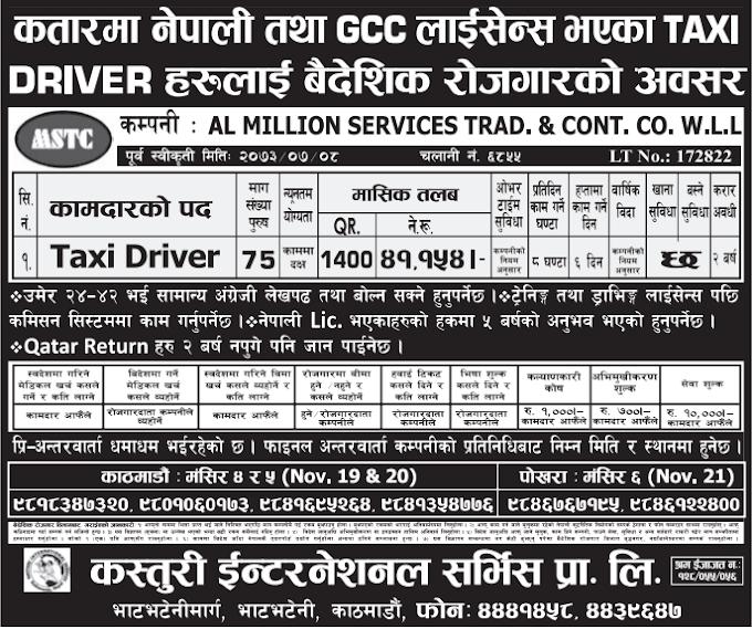 Free Visa, Free Ticket Jobs For Nepali In Qatar Salary- Rs. 41,154/