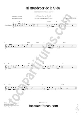 Corno Inglés Partitura de Al Atardecer de la Vida English Horn Sheet Music for French Horn Music Scores